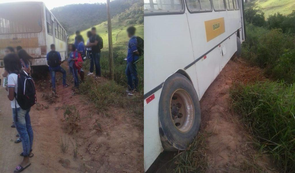 Ônibus escolar quebra e quase cai em ribanceira no interior da Bahia