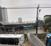 Chuvas deixa BR-101 interditada e terminais de ônibus em Vitória alagados