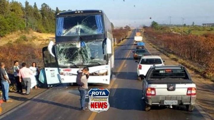 Ônibus da Viação Eucatur se envolve em acidente na BR-364
