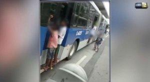 Menores se arriscam pegando carona em BRT do Recife