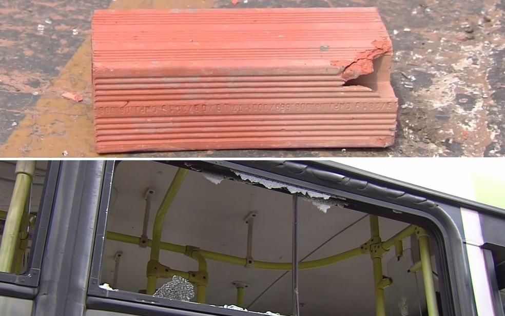 Homem quebra janela de ônibus em Goiânia