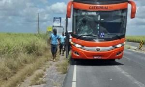 Ônibus da Catedral Turismo acaba atropelando mulher em Alagoas