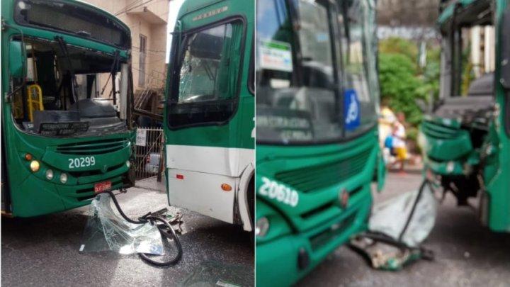 Vídeo: Ônibus batem no final de linha da Mata Escura, em Salvador