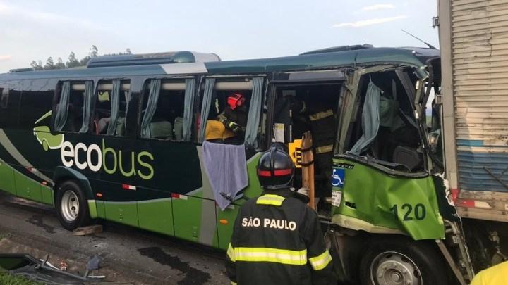 SP: Colisão entre micro-ônibus e caminhão deixa 13 feridos na Via Dutra neste sábado 11