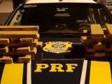 PRF apreende 21,8 kg de maconha com passageiro em ônibus interestadual na BR-163