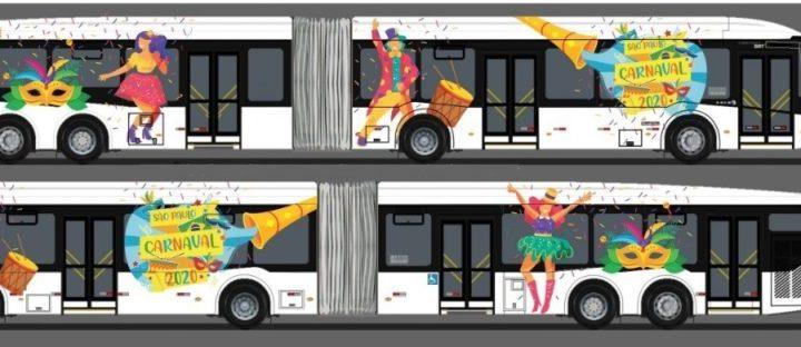 São Paulo: Ônibus com decoração de carnaval começam a circular a partir de sábado