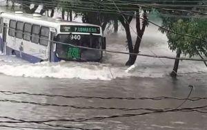 Ônibus de Belém enfrenta Avenida alagada e vídeo viraliza na internet