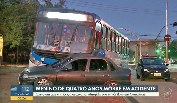 SP: Acidente entre carro e ônibus deixa uma criança de 4 anos morta em Campinas