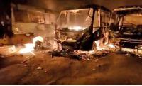 Vídeo: Incêndio destrói sete ônibus escolares em Barra do Choça no Sudoeste baiano