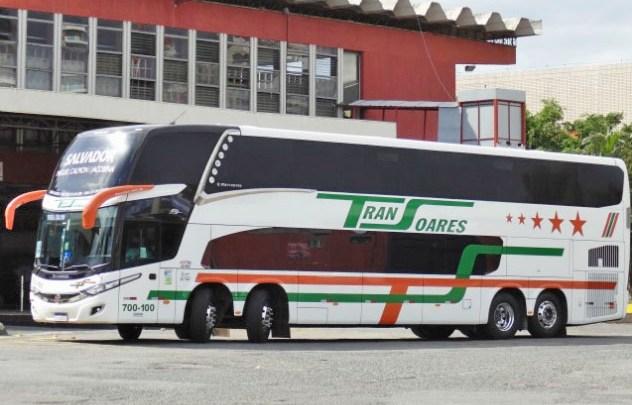 Transoares escala ônibus double deck na Salvador x Miguel Calmon x Salvador e chama atenção