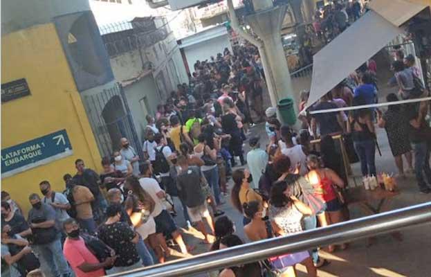 Vídeo: BRT Rio inicia primeiro dia de intervenção ainda apresentando aglomerações e demais problemas