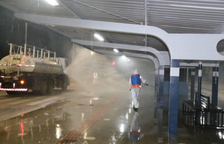 Campo Grande realiza desinfecção em seis terminais de ônibus