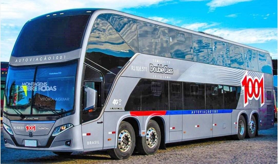 Foto mostra como deverá ser os novos ônibus Busscar DD da Auto Viação 1001