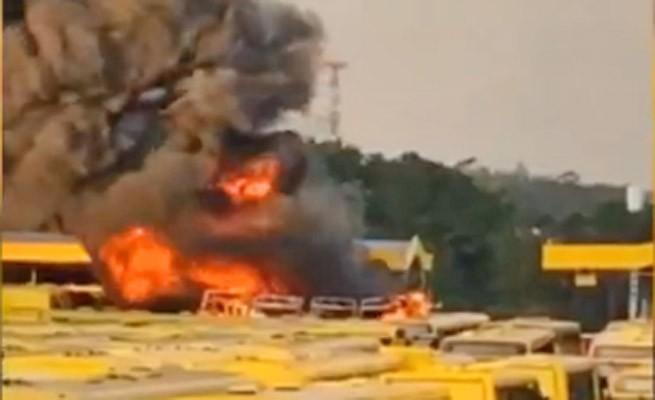 SP: Garagem da Viação Jundiaiense pega fogo na tarde deste sábado