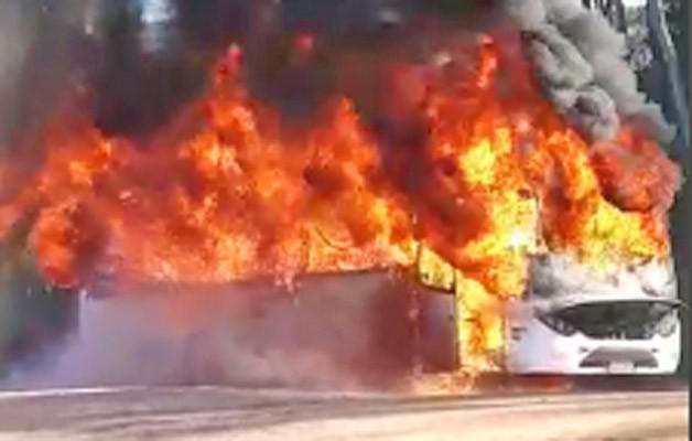 Vídeo: Ônibus pega fogo na BR-120 na altura de Viçosa