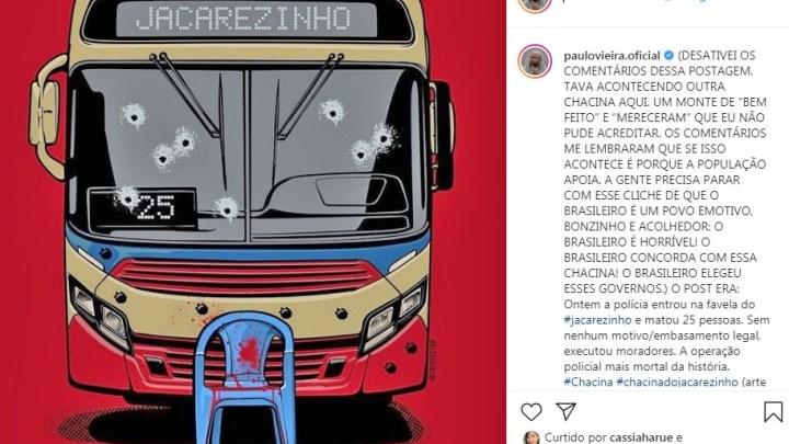 Instagram deleta protesto de Paulo Vieira contra chacina no Rio e pede desculpas pelo erro