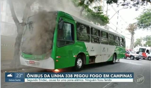 SP: Ônibus da VB Transportes pega fogo em Campinas e chama a atenção de moradores - revistadoonibus