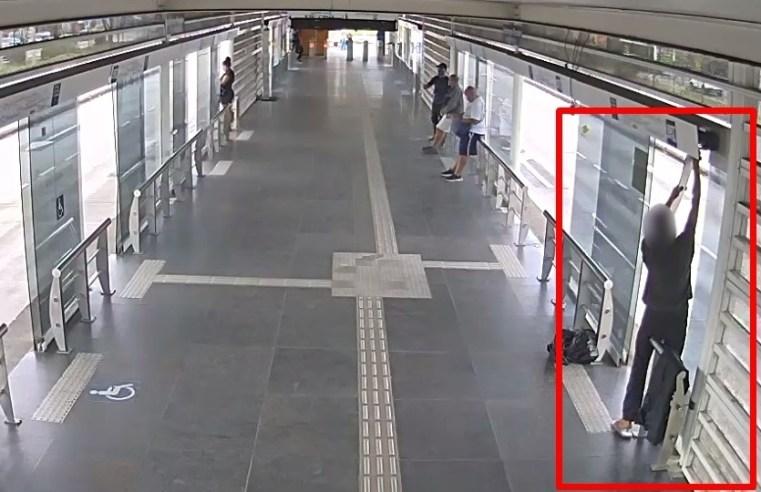 Rio: Homem é preso por Agentes do Programa BRT Seguro furtando peças de estação na Barra da Tijuca