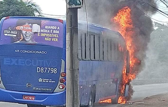 Rio: Ônibus da Expresso Pégaso pega fogo na Avenida Brasil, em Bangu
