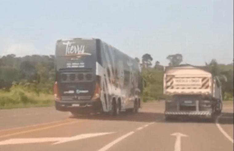 Vídeo: Motorista imprudente que fez manobra com ônibus da banda de Tierry no Pará, será demitido