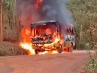 Vídeo: Micro-ônibus escolar pega fogo em Coronel Fabriciano/MG - revistadoonibus