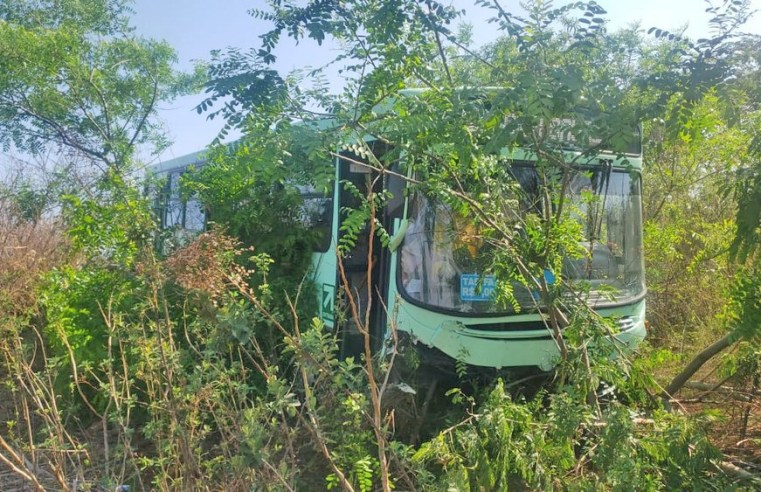 SP: Ônibus da Viação Paraty invade terreno após acidente com carro, em Jaú - revistadoonibus