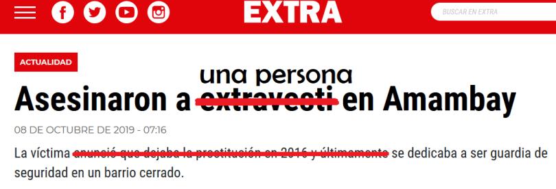 Titular discriminativo diario Extra Paraguay
