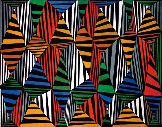 "Superficie en movimiento 1. Caracas, Venezuela, 1957. 100 x 126 cm (39 3/8 x 49 5/8""). Museum of Fine Arts, Houston, USA."