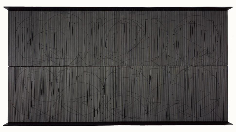 Jesús Soto. Escritura muro negro, 1977.