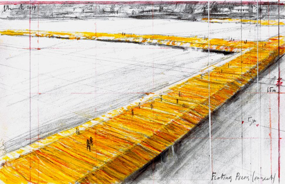 Christo Floating Piers (Project) Drawing 2014 Photo: André Grossmann © 2014 Christo