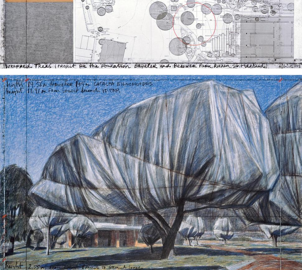 """Christo Wrapped Trees (Project for the Fondation Beyeler and Berower Park, Riehen, Switzerland) Drawing 1998 in two parts Pencil, charcoal, pastel, wax crayon, fabric sample, technical data, topographic map and tape 15 x 65"""" and 42 x 65"""" (38 x 165 cm and 106.6 x 165 cm) Fondation Beyeler, Riehen, Switzerland Photo: André Grossmann © 1998 Christo"""
