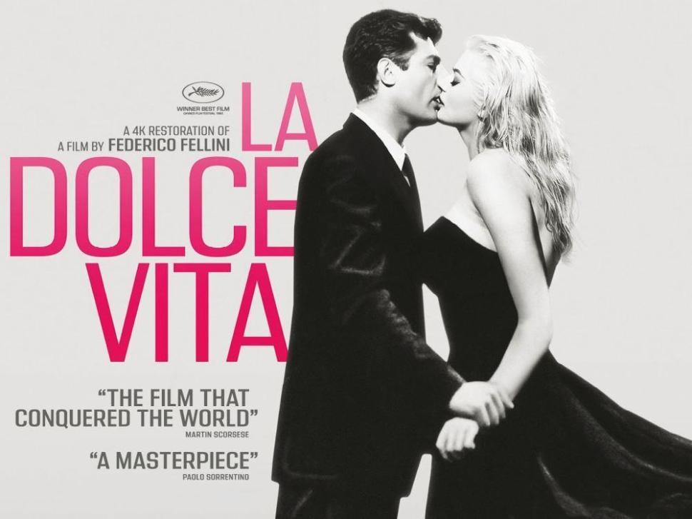 Afiche de La Dolce Vita restaurada, remasterizada y digitalizada
