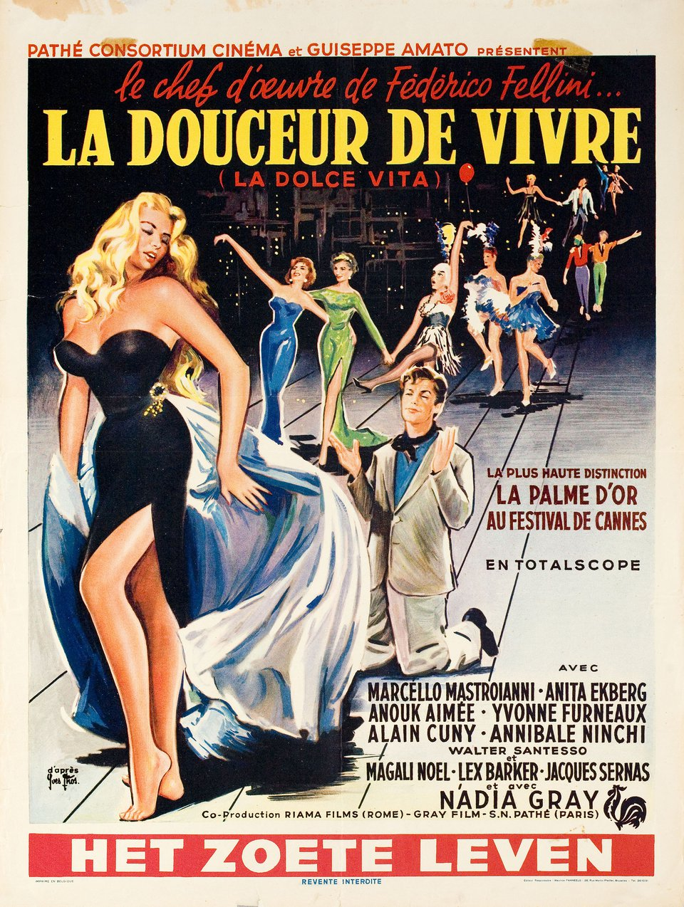 Afiche de La Dolce Vita - Francia
