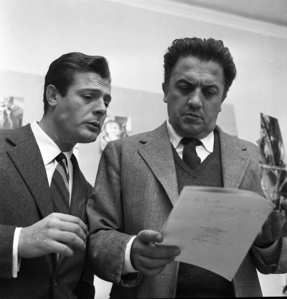 Marcello Mastroianni y Federico Fellini