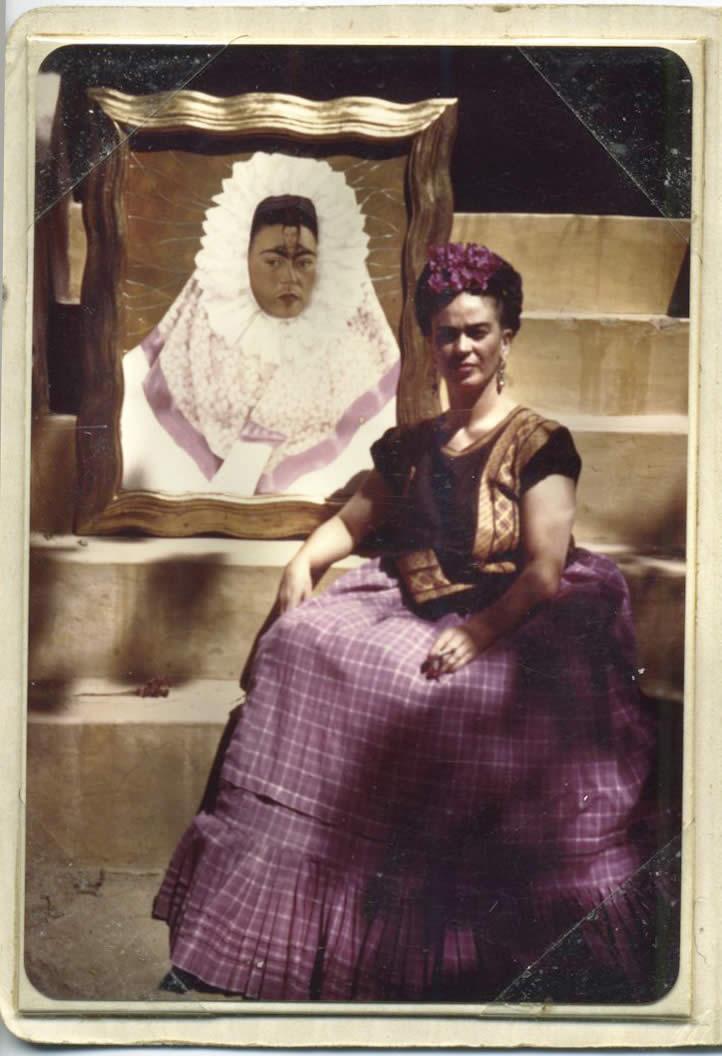 Frida con Frida como tehuana o Diego en mis pensamientos, 1943.