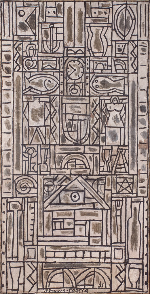 Joaquín Torres García. Composicion simétrica universal en blanco y negro.1931.