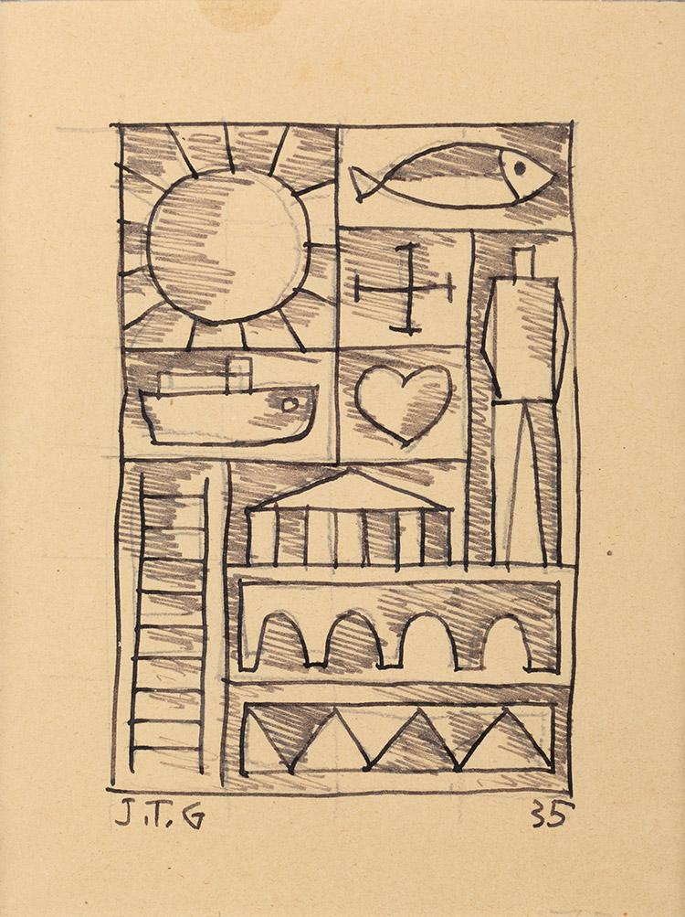 Joaquín Torres García. Dibujo constructivo con sol y pez 1935 Cortesía MALBA.