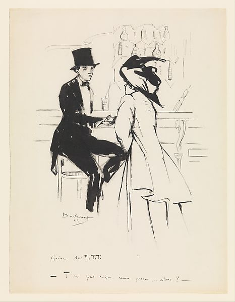 Marcel Duchamp (American (born France), Blanville 1887–1968 Neuilly-sur-Seine) At the Bar, 1909 Ink on paper; H. 15-1/8, W. 11-1/2 inches (38.1 x 29.2 cm.)  The Metropolitan Museum of Art, New York, Gift of Mrs. William Sisler, 1975 (1975.428.1) http://www.metmuseum.org/Collections/search-the-collections/481463