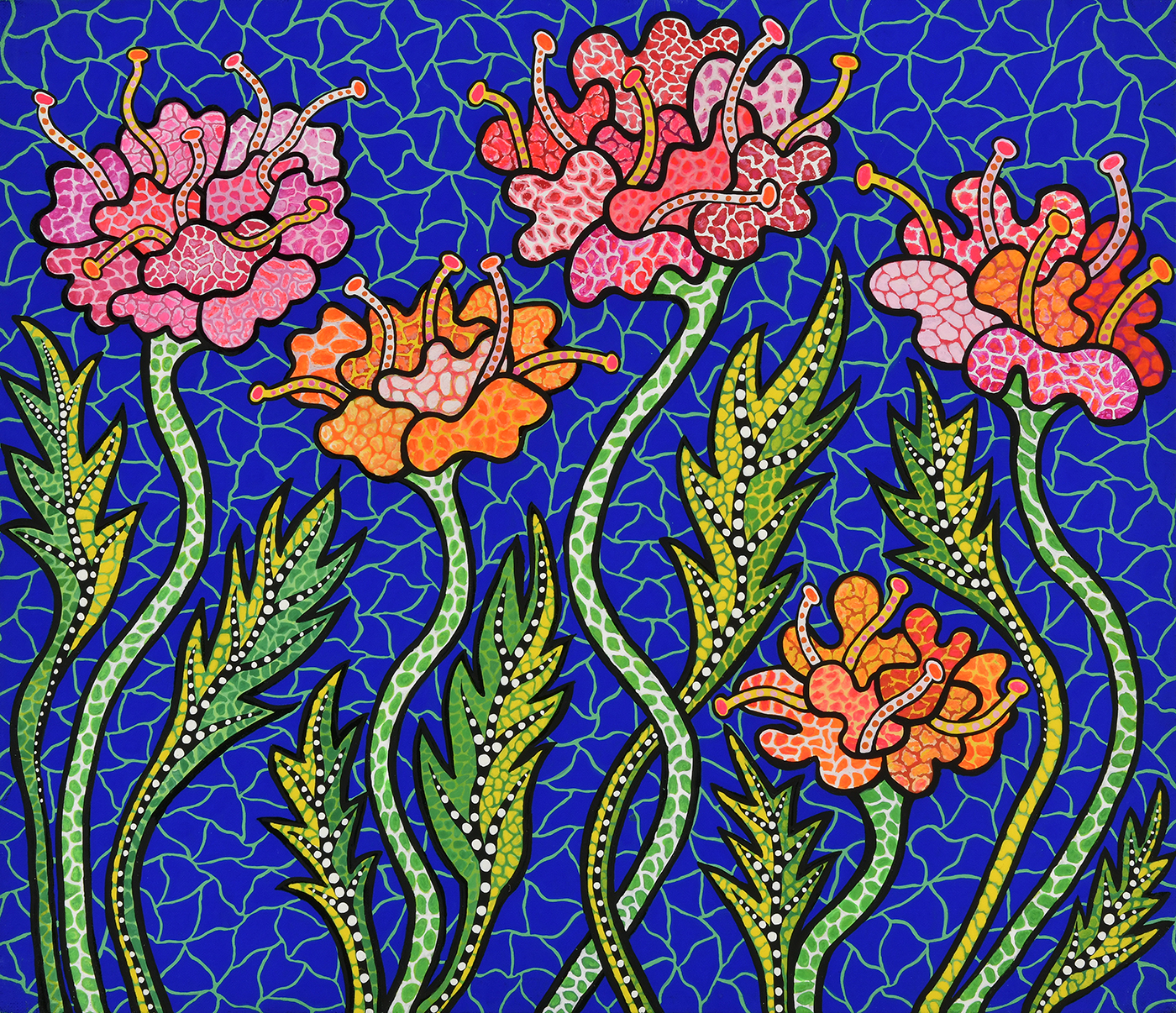 Summer Flowers, 1988. Acrylic on canvas. Collection of the artist. © YAYOI KUSAMA Flower Obsession (Sunflowers), 2000. Video Still. Collection of the artist. © YAYOI KUSAMA 2021