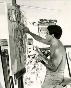 Oswaldo Vigas en su taller, Mérida 1967