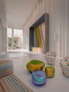 La colorida paleta de diseño de Missoni, presente en la decoración