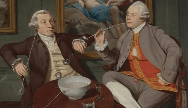 Detalhe de pintura da escola inglesa do século XVIII onde estão representados dois cavalheiros a fumar e tomar ponche. Desde o século XVII que fumar se tornou num hábito considerado elegante.