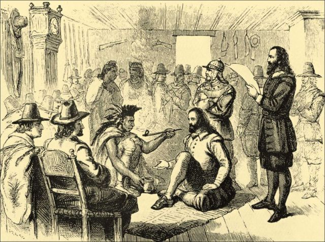 Os índios americanos tinham a tradição de fumar um cachimbo cerimonial (calumet) para selar um acordo. Esta gravura representa um acordo celebrado com colonos ingleses em 1625.