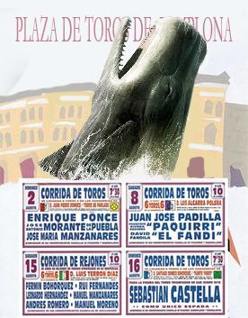 cartel de toros con ballena