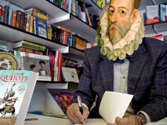 Cervantes firmando libros en la feria