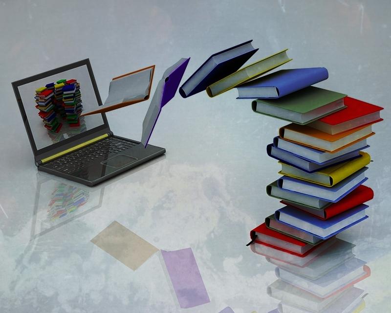 Revista Literaria Galeradas. Foto libros ordenador