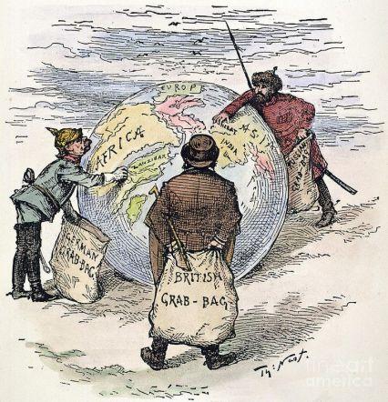 O imperialismo é uma das principais causas da Primeira Guerra Mundial, muitos países queriam expandir. No cartum político, as nações mais poderosas estavam escolhendo os territórios que queriam controlar. Crédito: Discover ideas about World History Lessons/Pinterest.