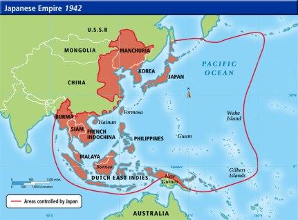 O império japonês em 1942. Crédito: Google Sities.