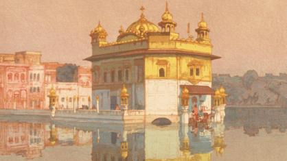 Templo Dourado, em Amritsar, gravura de Hiroshi Yoshida. Crédito: Pinterest.