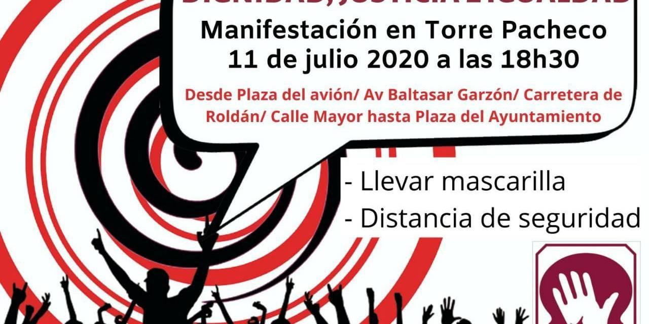 Manifestación de inmigrantes en Torre Pacheco ( Murcia) realizada el 11 de julio de 2020